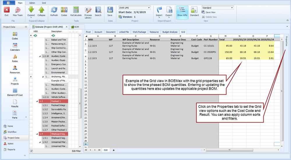 ProjStream BOEMax BOM Quantity Grid View
