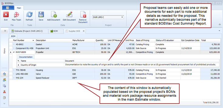 Example of the Supplier BOE window in BOEMax where proposal teams can add documentation about each part